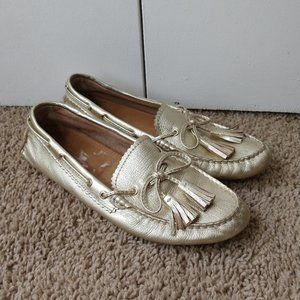 Coach Nadia Gold Leather Loafers 7.5 B